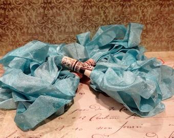 Hand Dyed Seam Binding Ribbon Aqua