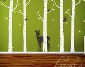 Birch Woodland Forest Wall Decal Set 102 in.