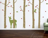 Woodland Animal Birch Tree Forest Vinyl Wall Decal Set - 8' Height Option. Forest Wall Decal, Woodland ANIMAL Nursery, Woodland Play Room
