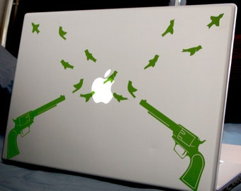 Revolvers and Birds Laptop or Wall Decal
