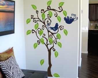 On SALE- Swirly Tree and Birds Wall Decal Extra Large