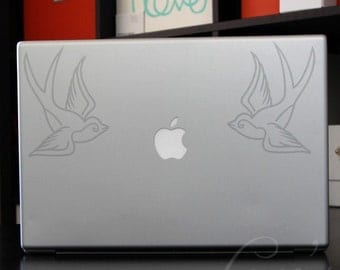 Etched Glass Swallows Large Laptop / Macbook / Notebook Computer Decals