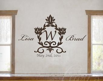 Damask Wedding Monogram Vinyl Wall Decal