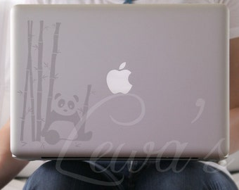 Silver Etched Glass Panda in Bamboo Garden Laptop / Notebook Computer Decal