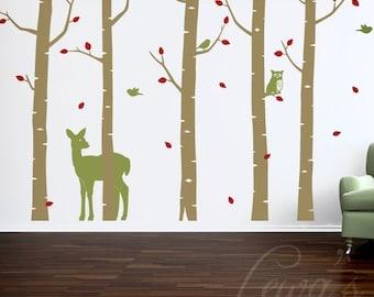 Superb Woodland Animal Birch Tree Forest Vinyl Wall Decal Set   8u0027 Height Option.  Forest Part 16
