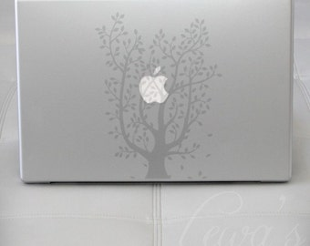 Leafy Tree Etched Glass Laptop / Notebook / Macbook Computer Decal
