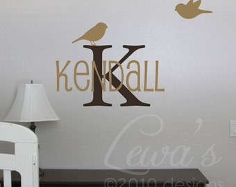 Birdies Style 2 Custom Name and Monogram Small Size Vinyl Wall Decal
