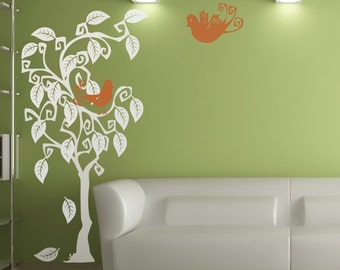 Swirly Tree and Birds Wall Decal Extra Large