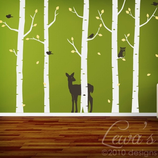 birch woodland forest wall decal set 102 in. Black Bedroom Furniture Sets. Home Design Ideas