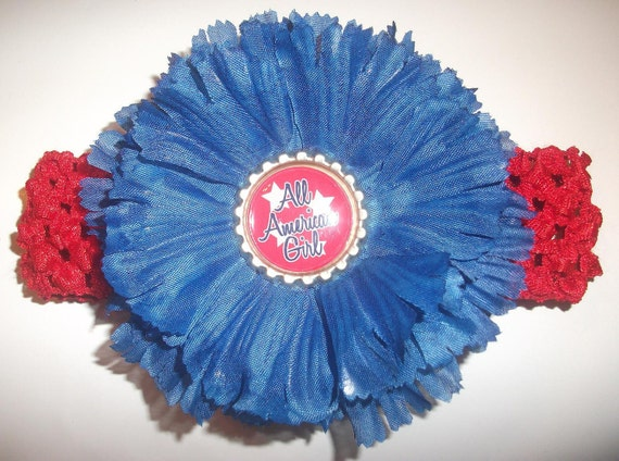 All American Girl - Red White n Blue Fourth of July Carnation Flower Clip featuring Flattened Bottle Cap with Headband