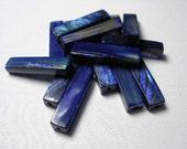 16 Blue Paua Shell Tube Beads