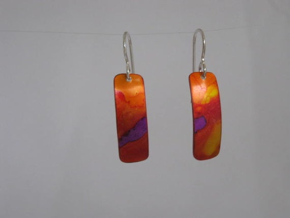 Purple Sunset - Handpainted Earrings - Red Orange Yellow- Lightweight