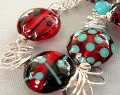 RESERVED for CHERYL -- Ladybug Sonnet Lampwork and Sterling Bracelet by Happy Shack Designs