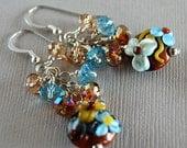 Blue Bells No. 4 Lampwork, Crystal and Sterling Earrings