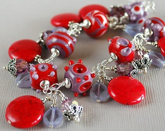 Purple Fire Red Hat Lampwork, Crystal, Sterling and Bracelet by Happy Shack Designs - Red Hat Society