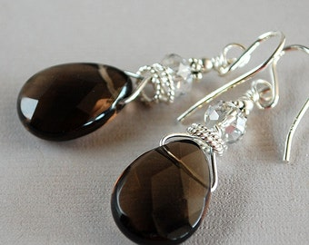 Smoky Quartz Earrings - Quartz Glass Briolette Earrings - Sterling and Crystal Earrings - Happy Shack Designs