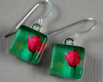 Fairfax Tulip Earrings - Photo Earrings - Red Tulip - Nature Photography