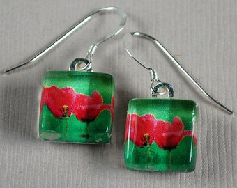Love Blooms Earrings - Photo Earrings - Two Red Tulips - Nature Photography