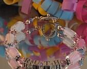 Mother's Bracelet - Sterling Silver, Swarovski Crystal  and Pastel Furnace Glass Beads