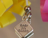 BABY ON BOARD Sign Charm Maternity Belly Button Ring - Sterling Silver