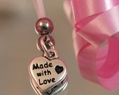 Made with Love Heart Charm, Maternity Belly Button Ring