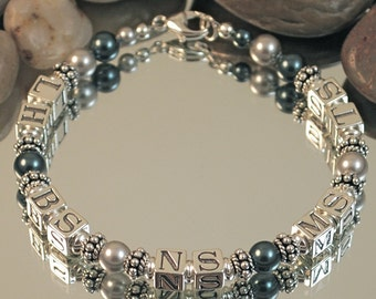 Sterling Silver and Swarovski Pearl Initial Mother's Bracelet - 5 sets of initials, Tahitian and Light Gray Pearls