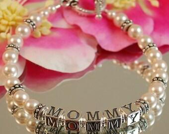 Swarovski Pearl and Antique Silver MOMMY Bracelet - Mothers Bracelet