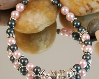 Swarovski Pearl and Sterling Silver Initial Bracelet , one set of initials- Tahitian and Rose