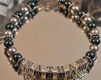 Swarovski Pearl and Sterling Silver Personalized Mothers Bracelet