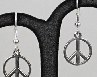Silver Peace Symbol Earrings - SALE