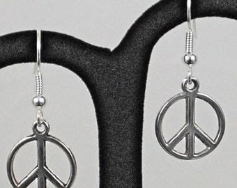 Silver Peace Symbol Earrings - SALE