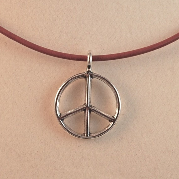 Peace Sign Necklace, Sterling Silver Peace Charm on a Crimson Leather Necklace