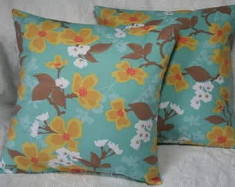 "Throw Pillow Cover - 18"" sewn with Joel Dewberry Modern Meadow Dogwood Bloom in Sunglow (**)"