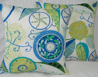Cobalt Blue Green Mod Flower Decorative Throw Pillow Cover -Valori Wells Wrenly Ingrid Geometric Floral in Cobalt FREE US SHIPPING