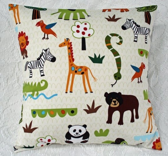 "16x16 Pillow Cover 16"" Wild Animals Throw Pillow Cover Animal Toss Wild Friends Earth Tones (11064**)"