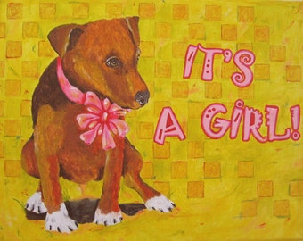 Whimsical folk art dog peeing it's a girl painting on canvas