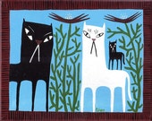 Cranky Cats Art Painting Black and White Cats With Kitten
