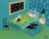 Cat Dog Art Greeting Card - Teal Blue Print - Funny Pets Awake in Bed While Mama Sleeps - Rescue Animals