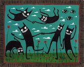 Funny Dancing Black Cats ACEO Print
