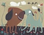 Dog Nose Kiss Art Print - Whimsical & Funny Dog Folk Artwork Wall Decor in Earth Tones, Brown Blue - Rescue Bull Mastiff Pug Lab Pitbull