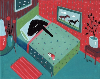 Funny Dog Art Print - Black Lab Sleeps in Bed 8x10 - Whimsical Dog Artwork Bedroom Wall Decor