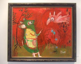 Large Whimsical Original Art Framed Painting - The Pink Bird - Animal Red Abstract Folk Outsider Artwork Decor