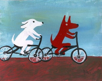 Dogs Ride BIKES Art Print 5x7 Bicycle Folk Outsider Art - Blue and Brown Bike Decor