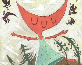 Dancing Orange Cat Painting - Original Art Crows Whimsical Happy Cat Artwork Wall Decor - Sound of Music Girl's Room Aqua Mint Green Olive