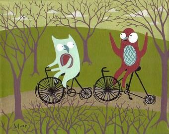 Owl & Bird Ride Bikes Art Print 8x10 - Whimsical Fun Bicycle Artwork - Bike Decor Owl Decor Bike Artwork Owl Print Bike Print Kid's Art