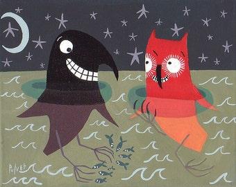 Funny Crow, Fish and Owl Art Print - Whimsical Outsider Folk Artwork - weird lake ocean night sky moon stars foot fetish