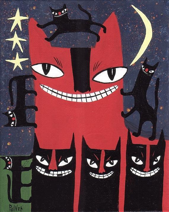 Mama and the Kids . Original 8x10 Cat Painting