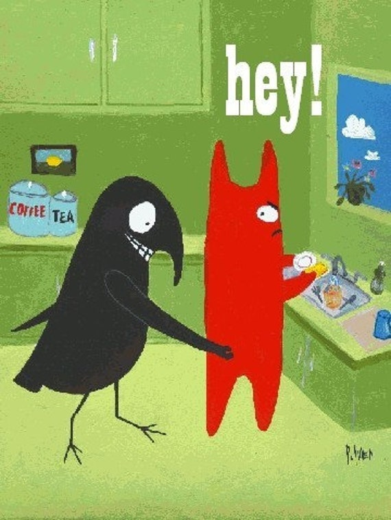 Hey . Funny Cat n Crow Card. Crow Pinches Cat's Butt