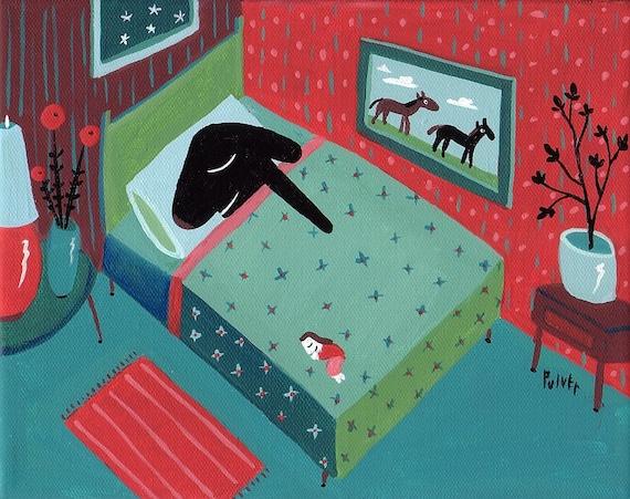 Funny Dog Art Print - Black Lab Sleeps in Bed 8x10 - Whimsical Dog Artwork Bedroom Wall Decor