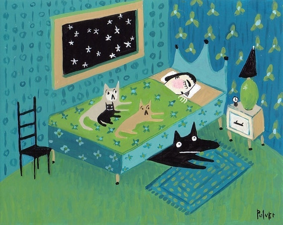 cat dog art greeting card teal blue print funny pets awake. Black Bedroom Furniture Sets. Home Design Ideas
